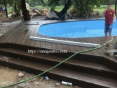 sàn gỗ bể bơi ngoài trời tại Quảng Ninh